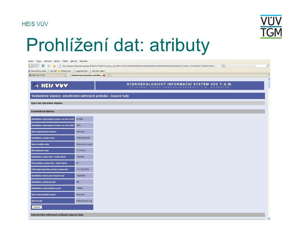 Prohlížení dat: atributy