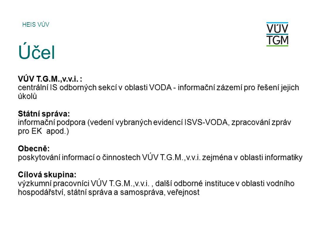 HEIS VÚV Účel. VÚV T.G.M.,v.v.i. : centrální IS odborných sekcí v oblasti VODA - informační zázemí pro řešení jejich úkolů.