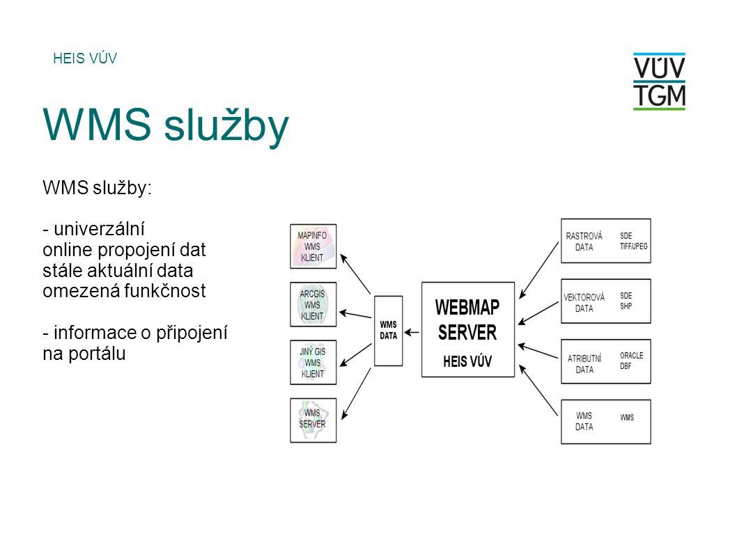 WMS služby WMS služby: - univerzální online propojení dat