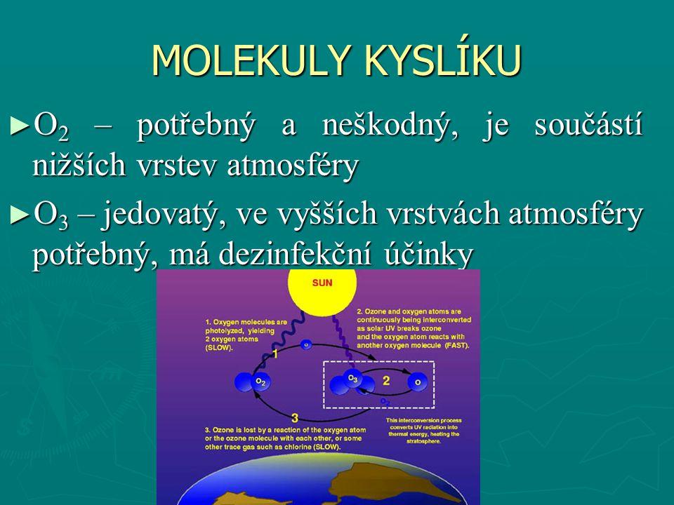 MOLEKULY KYSLÍKU O2 – potřebný a neškodný, je součástí nižších vrstev atmosféry.