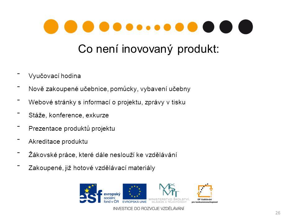 Co není inovovaný produkt: