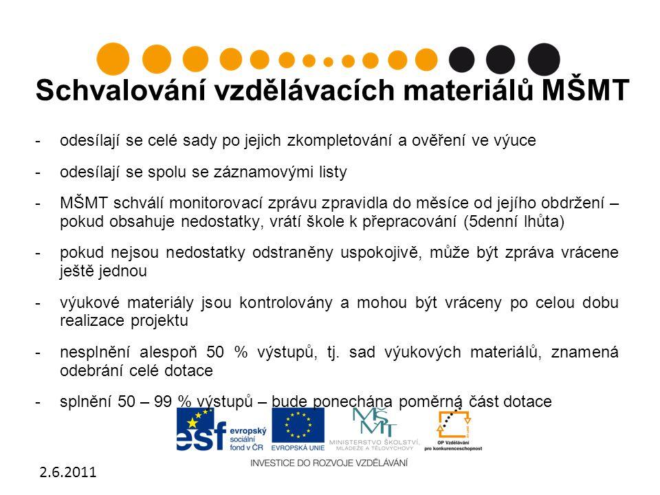 Schvalování vzdělávacích materiálů MŠMT