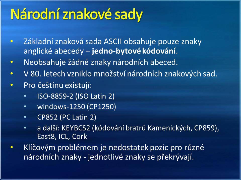Národní znakové sady Základní znaková sada ASCII obsahuje pouze znaky anglické abecedy – jedno-bytové kódování.