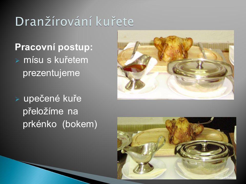 Dranžírování kuřete Pracovní postup: mísu s kuřetem prezentujeme