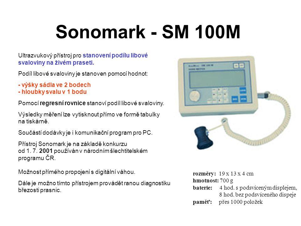 Sonomark - SM 100M Ultrazvukový přístroj pro stanovení podílu libové svaloviny na živém praseti. Podíl libové svaloviny je stanoven pomocí hodnot: