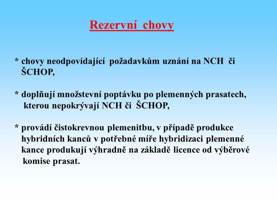 Rezervní chovy * chovy neodpovídající požadavkům uznání na NCH či