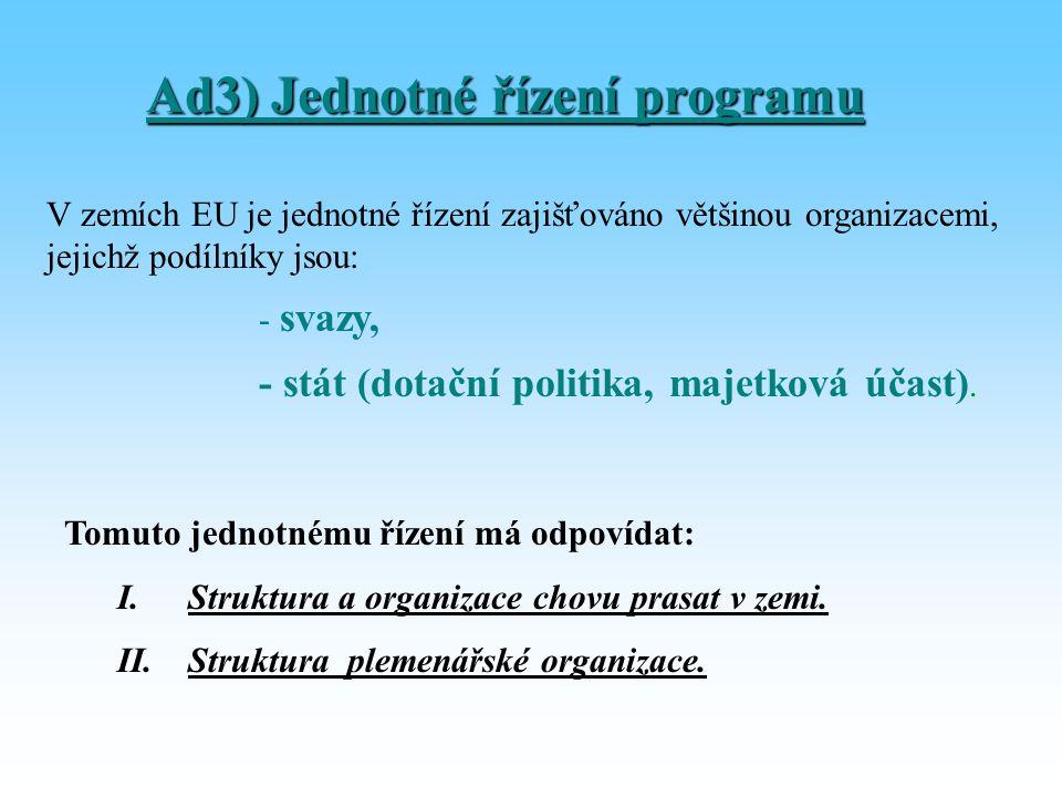 Ad3) Jednotné řízení programu