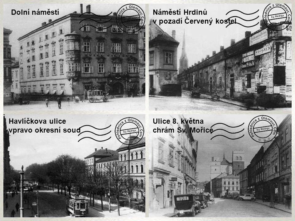 Dolní náměstí Náměstí Hrdinů. v pozadí Červený kostel. Havlíčkova ulice. vpravo okresní soud. Ulice 8. května.