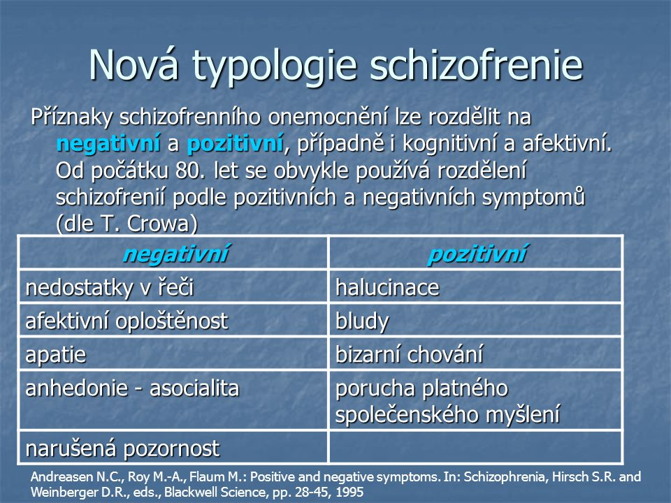Nová typologie schizofrenie