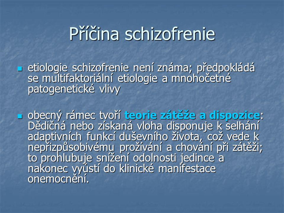 Příčina schizofrenie etiologie schizofrenie není známa; předpokládá se multifaktoriální etiologie a mnohočetné patogenetické vlivy.