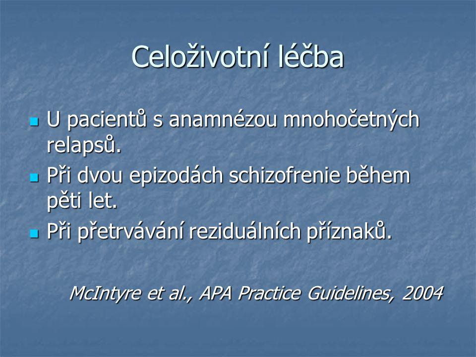 Celoživotní léčba U pacientů s anamnézou mnohočetných relapsů.