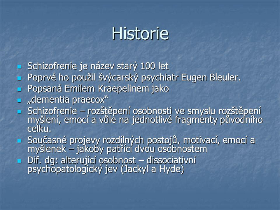 Historie Schizofrenie je název starý 100 let