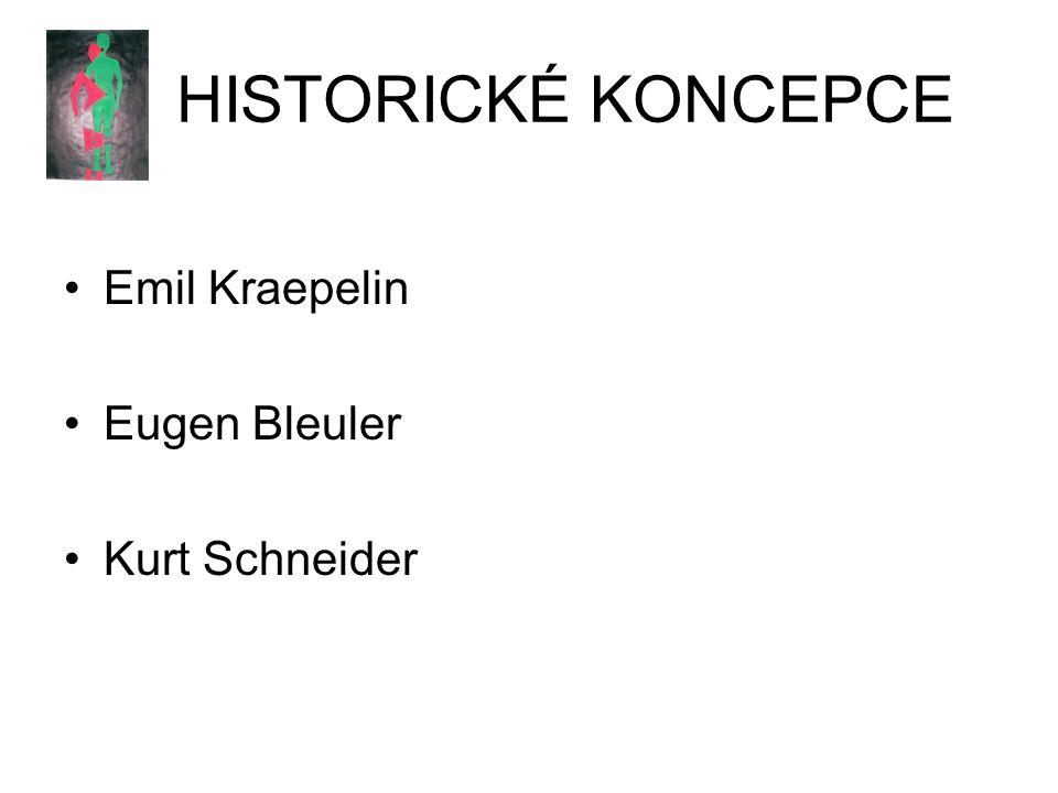 HISTORICKÉ KONCEPCE Emil Kraepelin Eugen Bleuler Kurt Schneider
