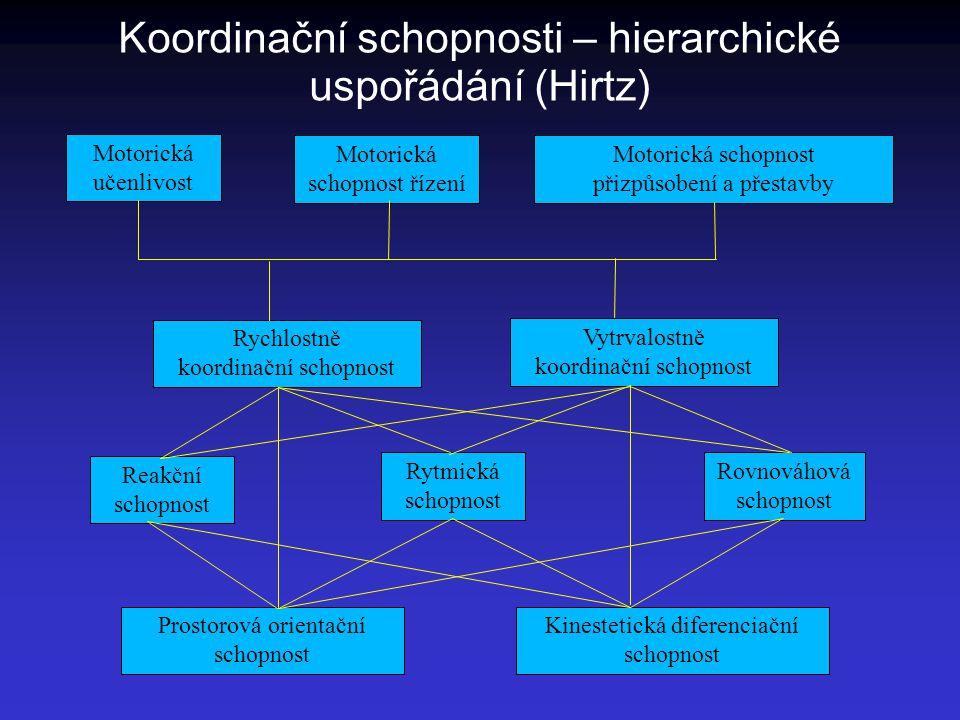 Koordinační schopnosti – hierarchické uspořádání (Hirtz)