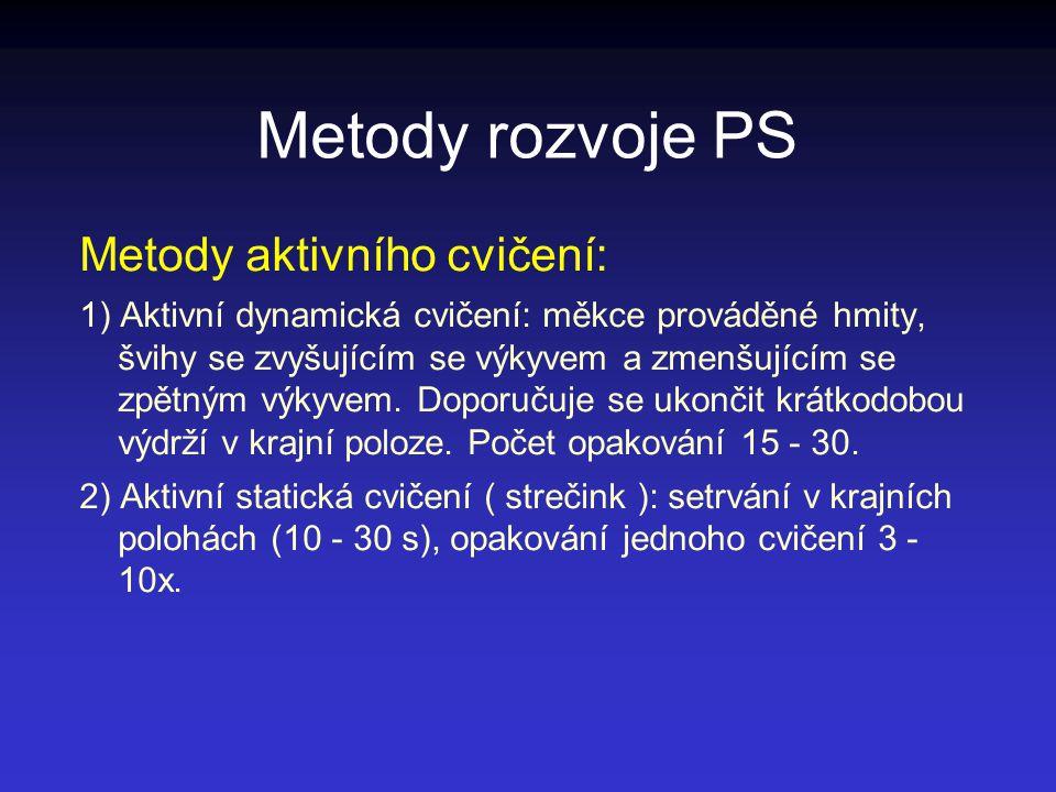 Metody rozvoje PS Metody aktivního cvičení: