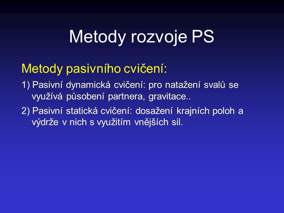 Metody rozvoje PS Metody pasivního cvičení: