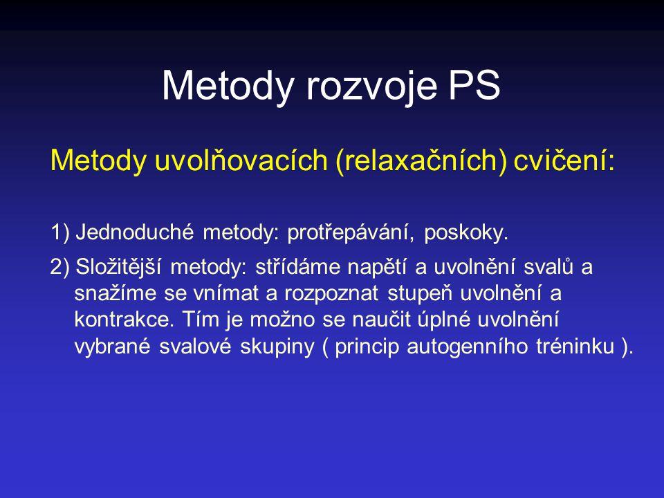 Metody rozvoje PS Metody uvolňovacích (relaxačních) cvičení: