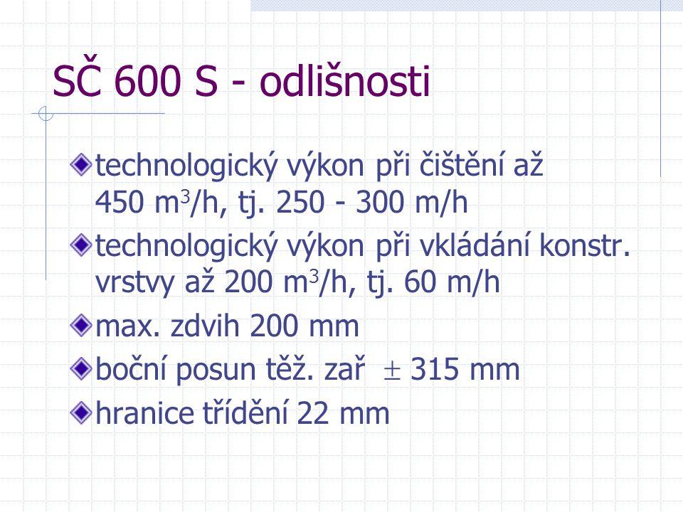 SČ 600 S - odlišnosti technologický výkon při čištění až 450 m3/h, tj. 250 - 300 m/h.
