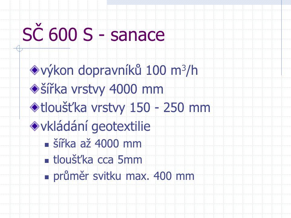 SČ 600 S - sanace výkon dopravníků 100 m3/h šířka vrstvy 4000 mm