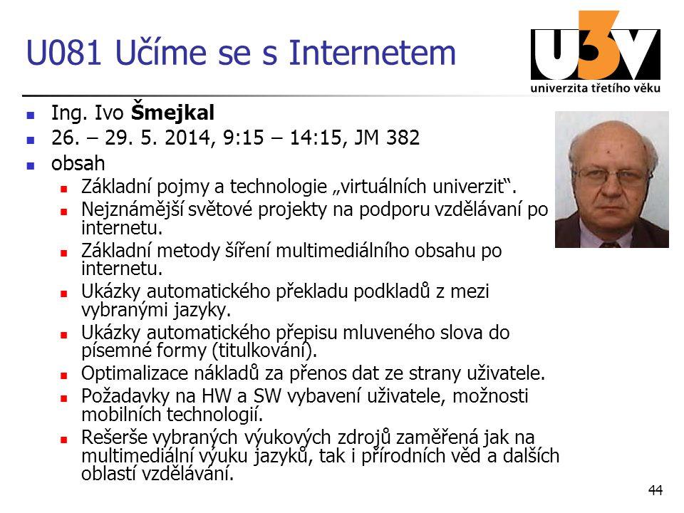 U081 Učíme se s Internetem Ing. Ivo Šmejkal