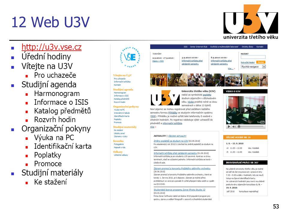 12 Web U3V http://u3v.vse.cz Úřední hodiny Vítejte na U3V
