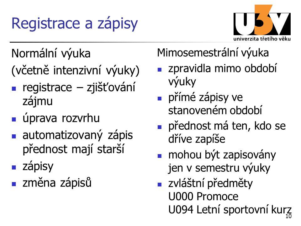Registrace a zápisy Normální výuka (včetně intenzivní výuky)