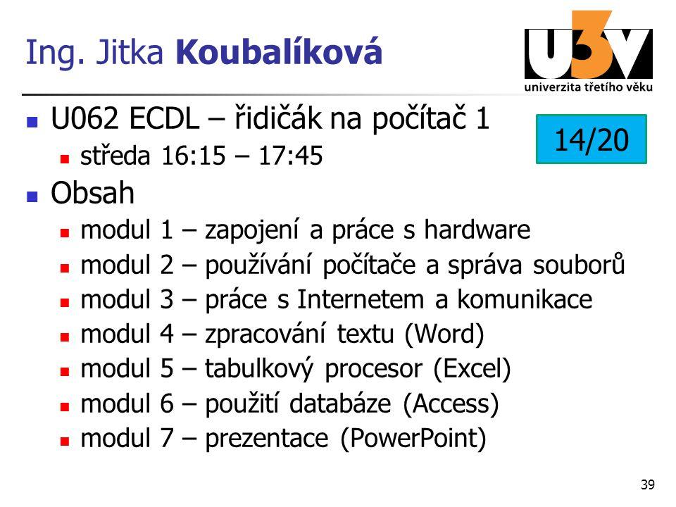 Ing. Jitka Koubalíková U062 ECDL – řidičák na počítač 1 14/20 Obsah