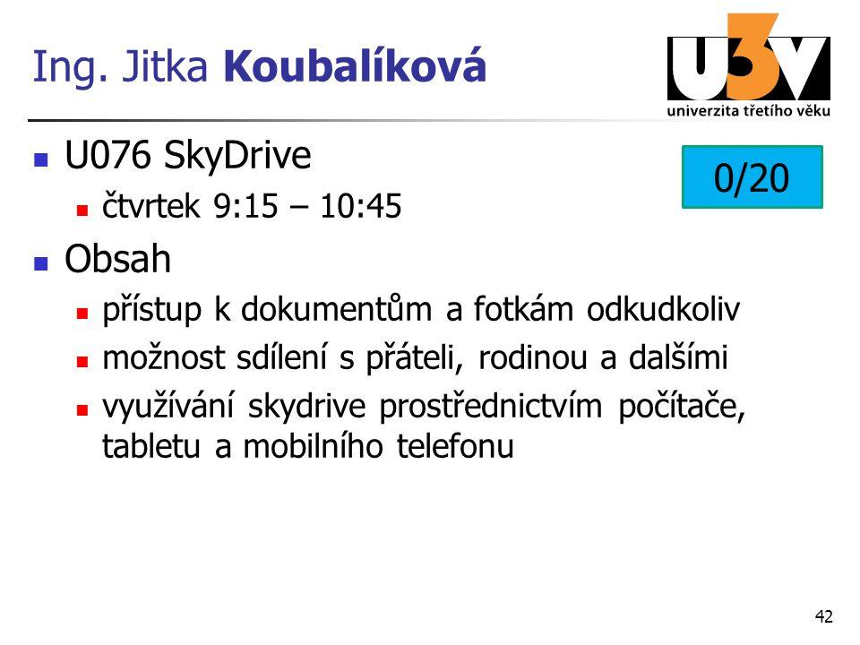 Ing. Jitka Koubalíková U076 SkyDrive 0/20 Obsah čtvrtek 9:15 – 10:45