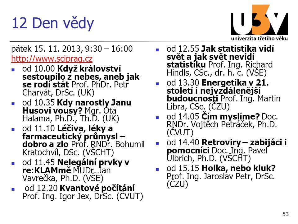 12 Den vědy pátek 15. 11. 2013, 9:30 – 16:00 http://www.sciprag.cz