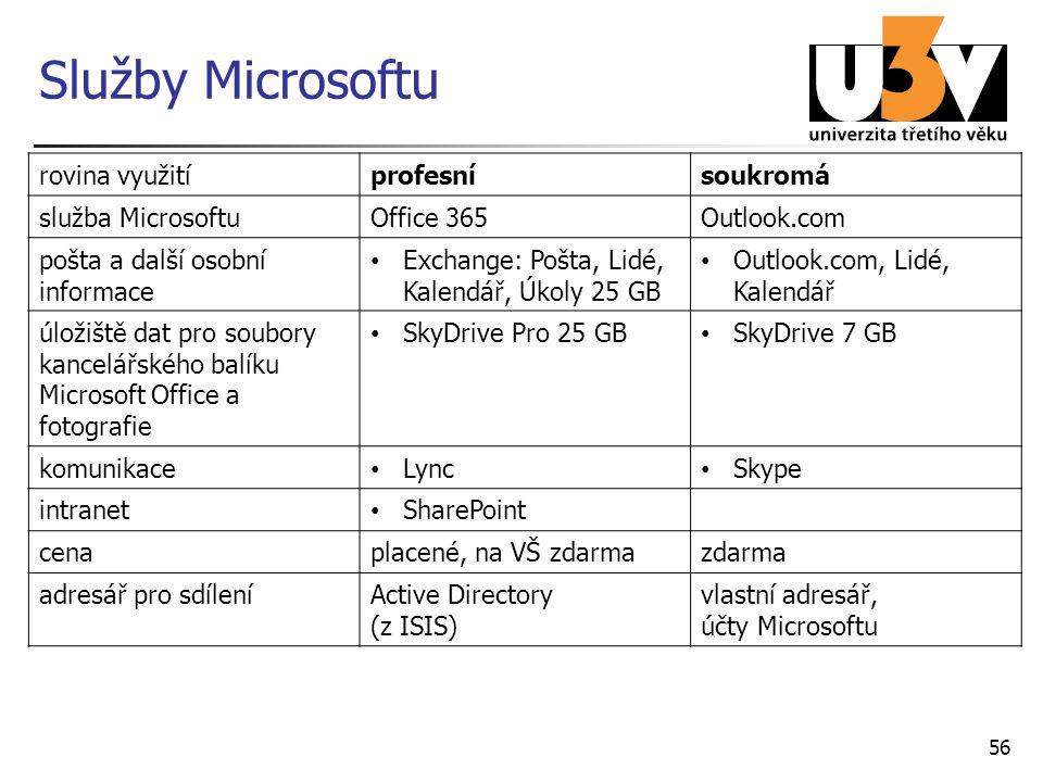 Služby Microsoftu rovina využití profesní soukromá služba Microsoftu