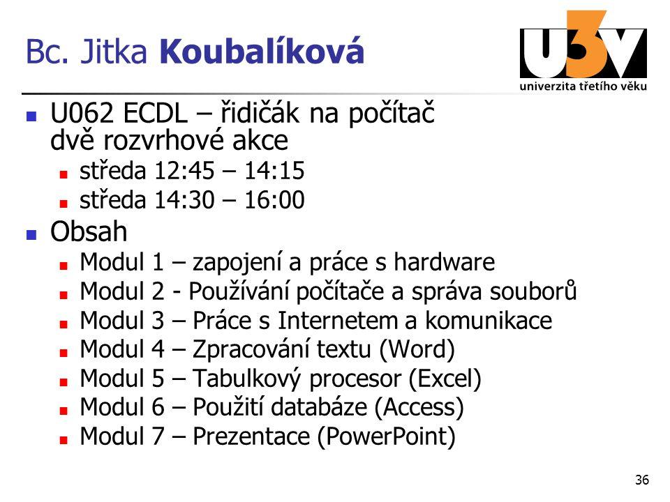 Bc. Jitka Koubalíková U062 ECDL – řidičák na počítač dvě rozvrhové akce. středa 12:45 – 14:15. středa 14:30 – 16:00.