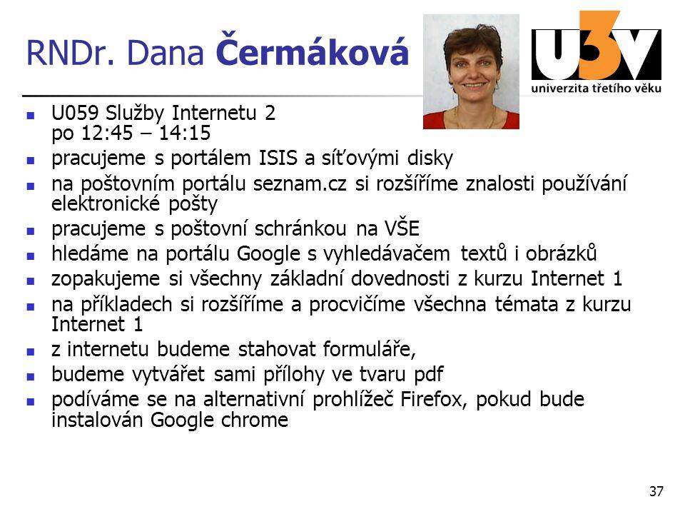 RNDr. Dana Čermáková U059 Služby Internetu 2 po 12:45 – 14:15