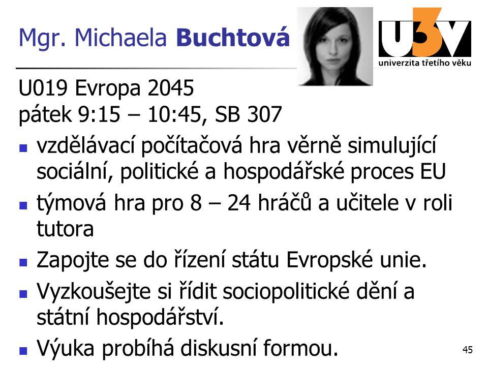 Mgr. Michaela Buchtová U019 Evropa 2045 pátek 9:15 – 10:45, SB 307