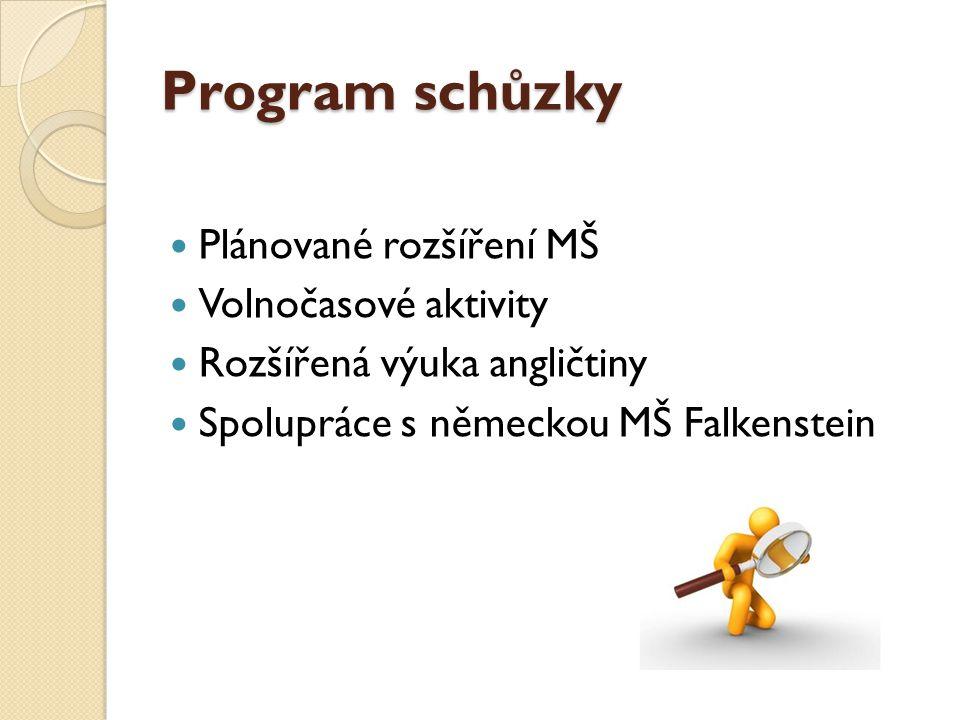 Program schůzky Plánované rozšíření MŠ Volnočasové aktivity