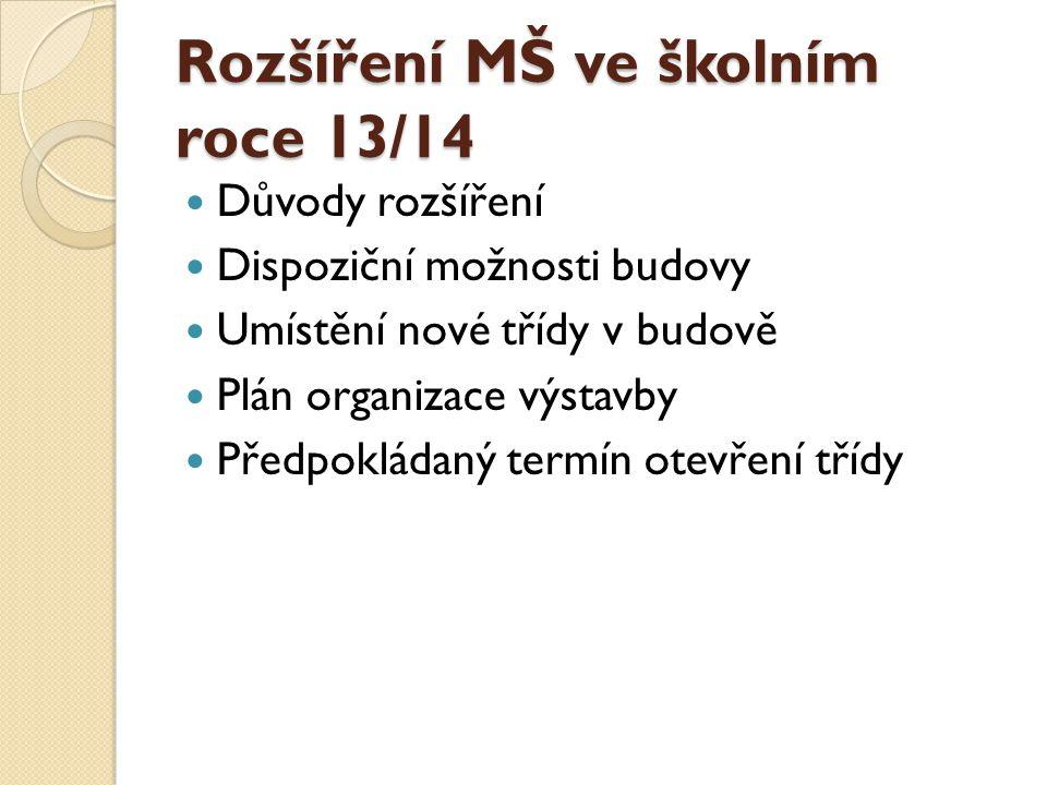 Rozšíření MŠ ve školním roce 13/14