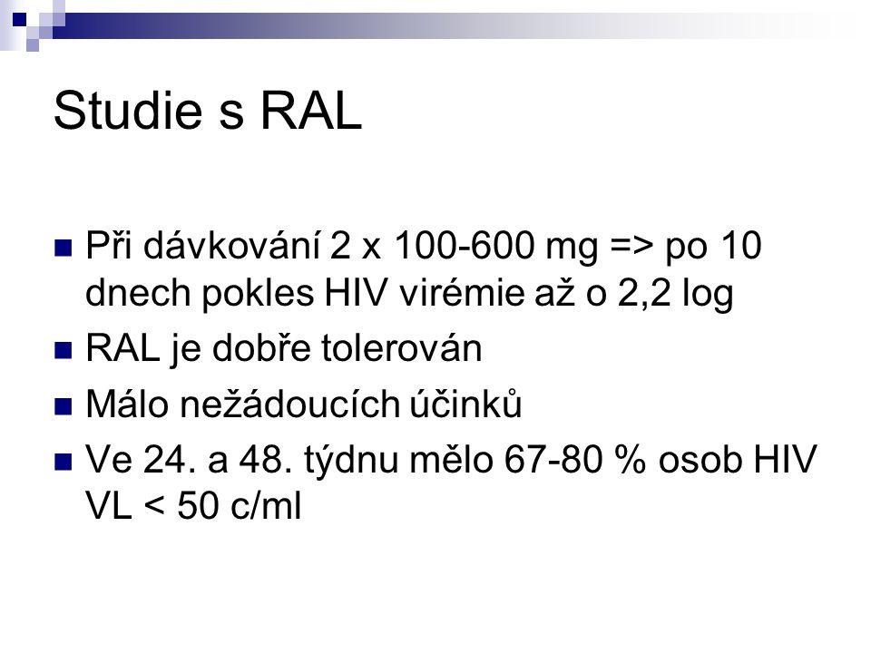 Studie s RAL Při dávkování 2 x 100-600 mg => po 10 dnech pokles HIV virémie až o 2,2 log. RAL je dobře tolerován.