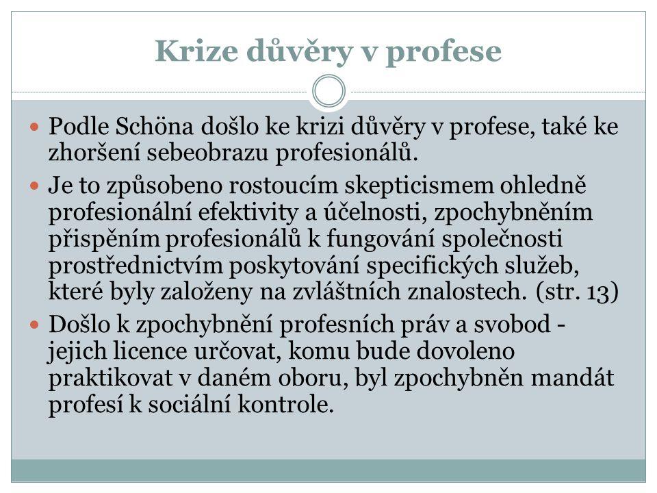 Krize důvěry v profese Podle Schöna došlo ke krizi důvěry v profese, také ke zhoršení sebeobrazu profesionálů.