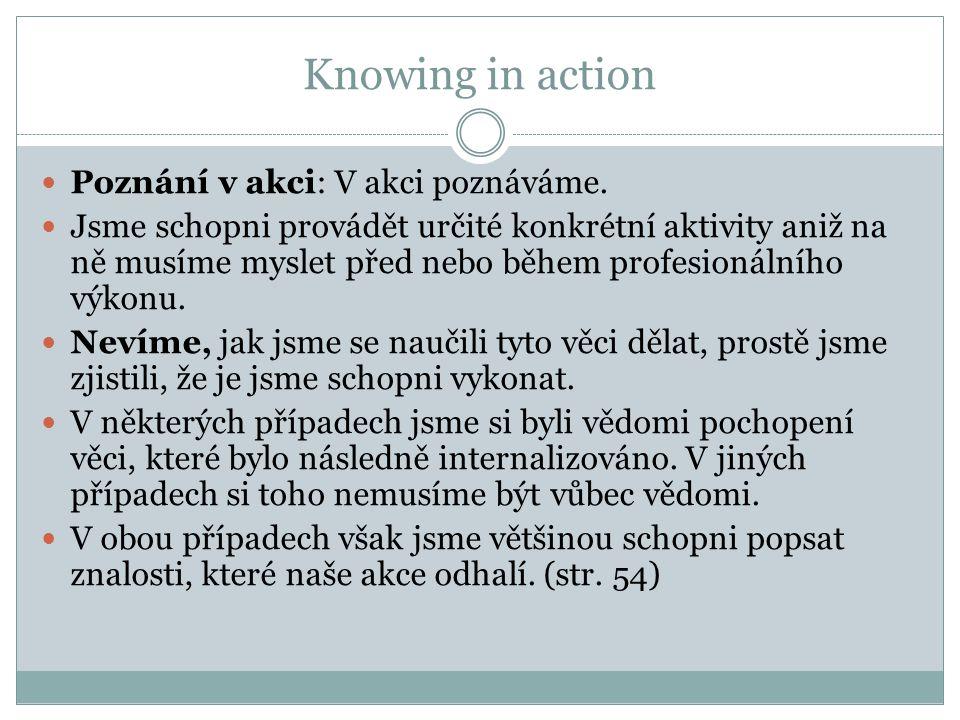 Knowing in action Poznání v akci: V akci poznáváme.