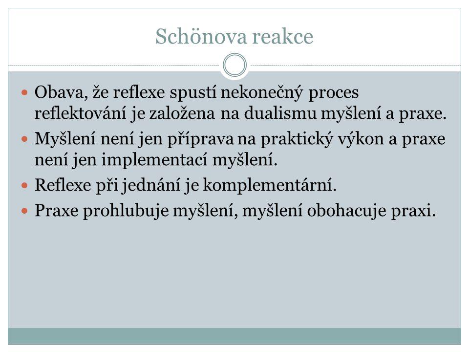 Schönova reakce Obava, že reflexe spustí nekonečný proces reflektování je založena na dualismu myšlení a praxe.