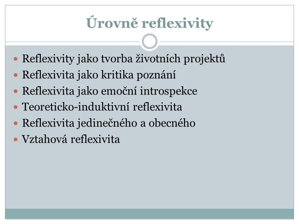 Úrovně reflexivity Reflexivity jako tvorba životních projektů