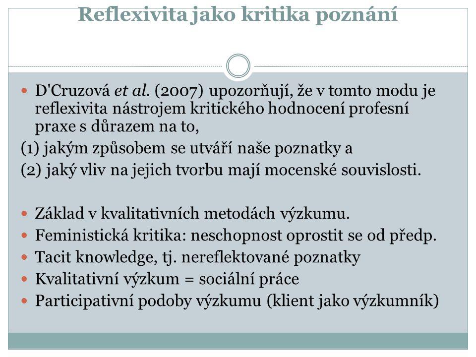 Reflexivita jako kritika poznání