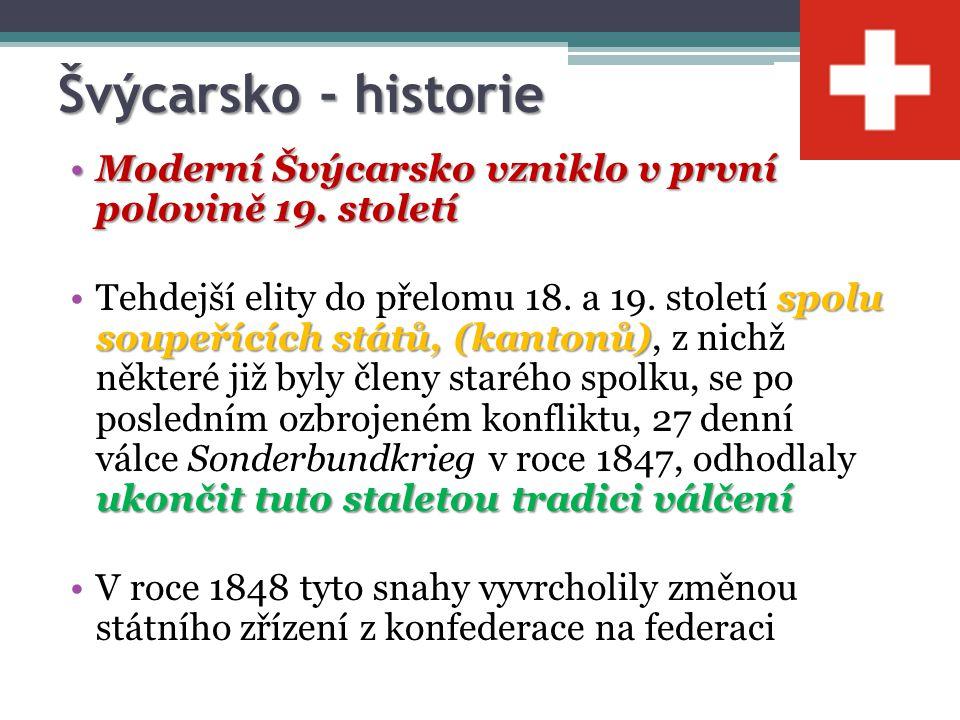 Švýcarsko - historie Moderní Švýcarsko vzniklo v první polovině 19. století.