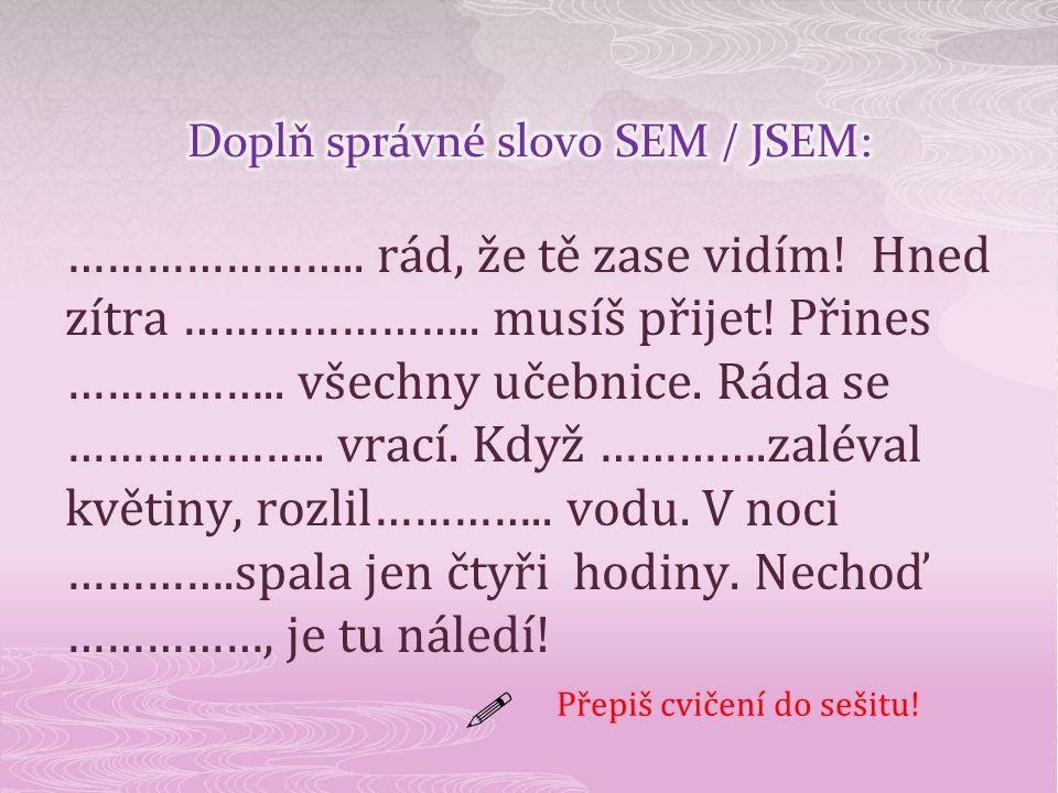 Doplň správné slovo SEM / JSEM: