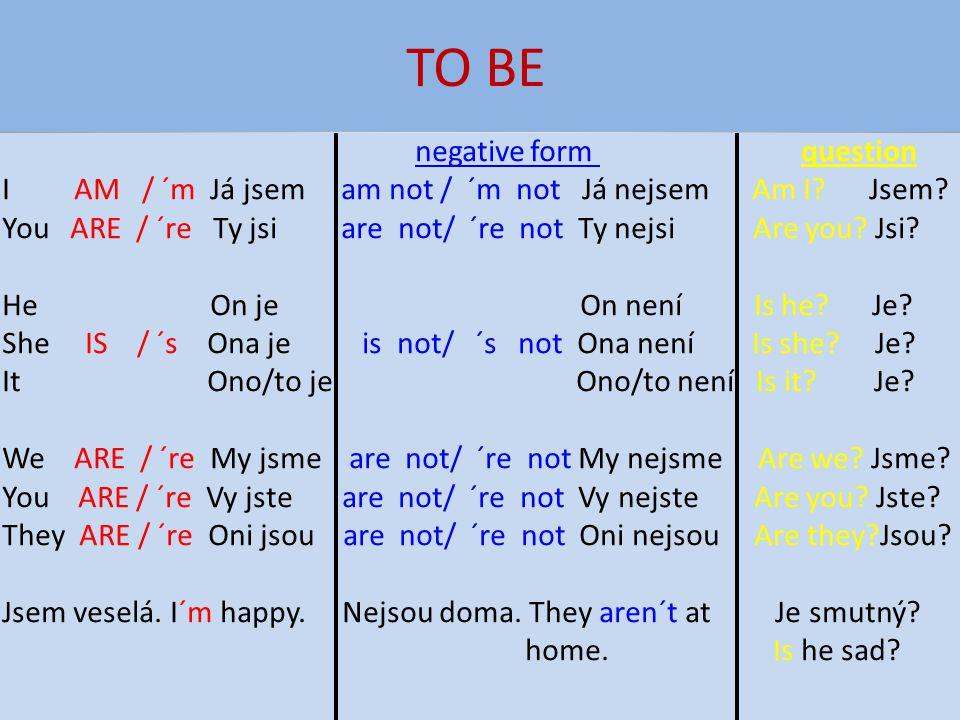 TO BE I AM / ´m Já jsem am not / ´m not Já nejsem Am I Jsem