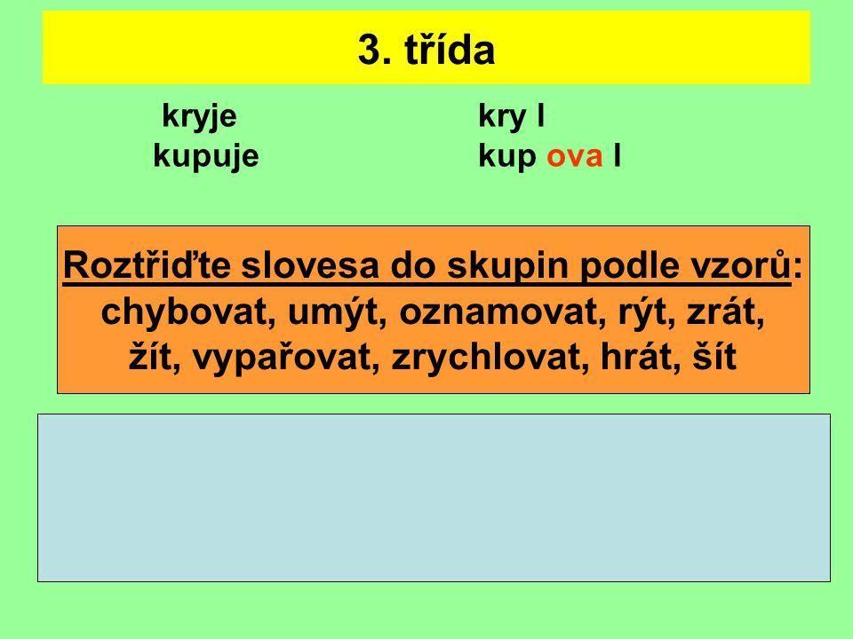 3. třída Roztřiďte slovesa do skupin podle vzorů: