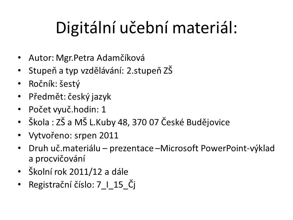 Digitální učební materiál: