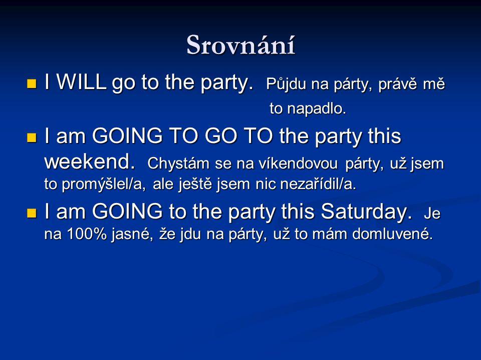Srovnání I WILL go to the party. Půjdu na párty, právě mě