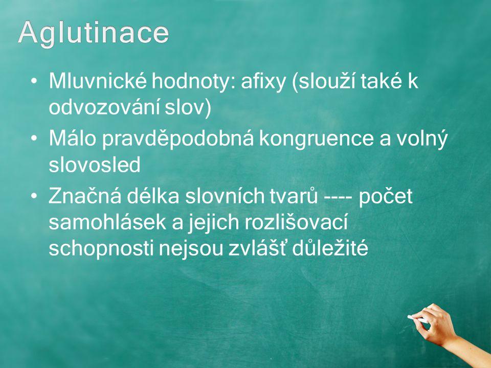 Aglutinace Mluvnické hodnoty: afixy (slouží také k odvozování slov)