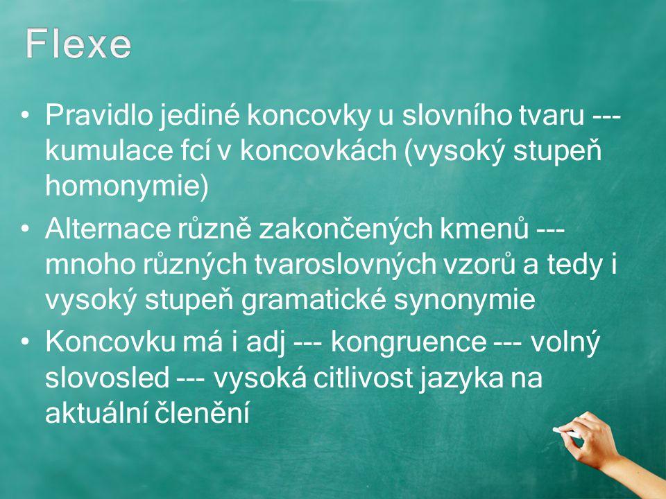 Flexe Pravidlo jediné koncovky u slovního tvaru --- kumulace fcí v koncovkách (vysoký stupeň homonymie)