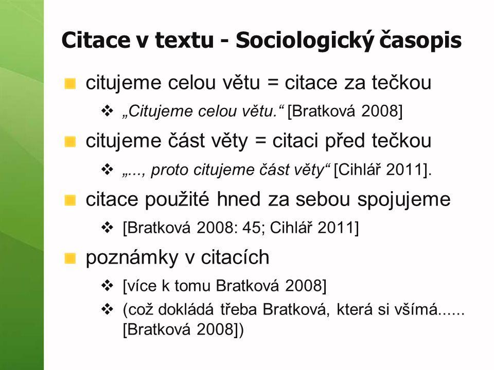 Citace v textu - Sociologický časopis